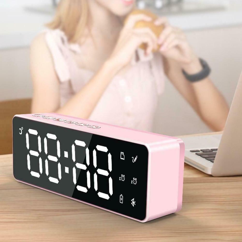 portable led mirror digital alarm clock wireless