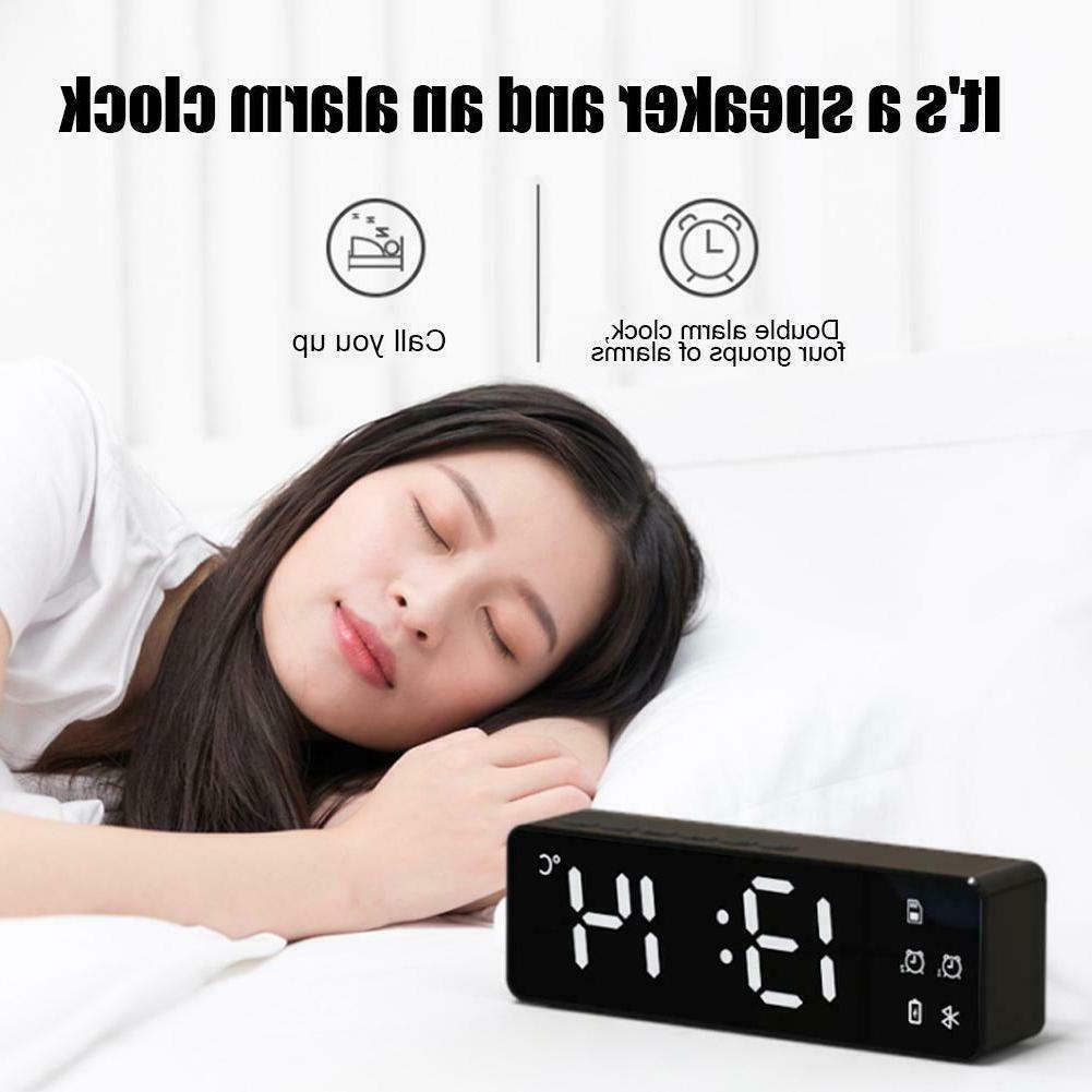 Portable LED Alarm Wireless Bluetooth Speakers Radio