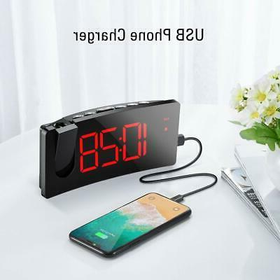 Projection Alarm Clock Dimmer Digital USB Charger Easy to ...