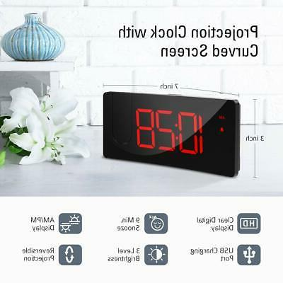 Projection Alarm 4 Dimmer Digital Clock with USB Phone to