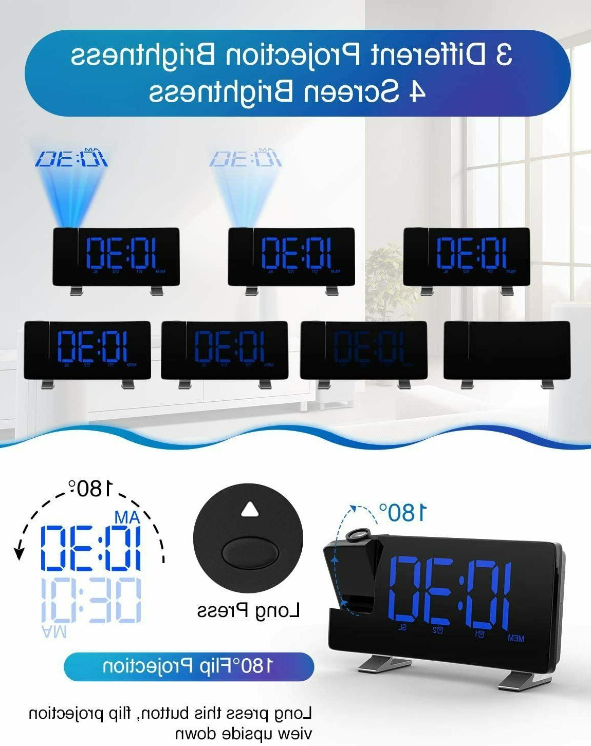 """iRedBeau Projection Clock,7"""" Curved-Screen Large Radio"""