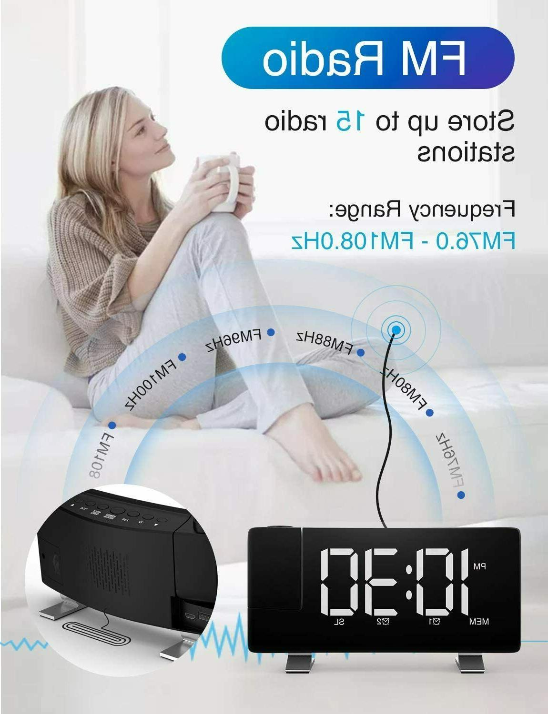 iRedBeau Projection Alarm Curved-Screen Large Digital Display,FM Radio