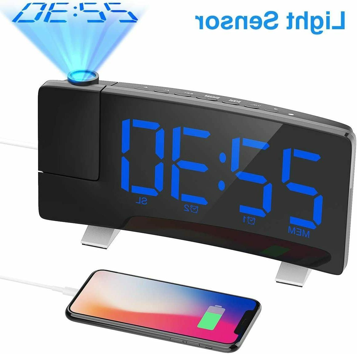 projection alarm clock 7 curved screen large