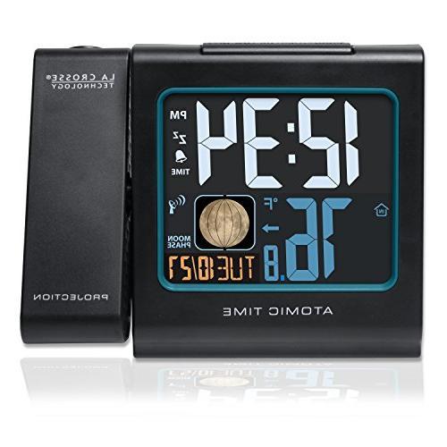 La Color LCD Projection Alarm Clock Moon Black