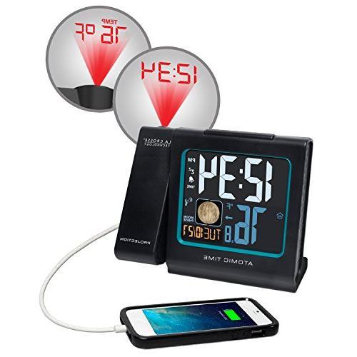 La Technology Color LCD Projection Alarm Clock Black