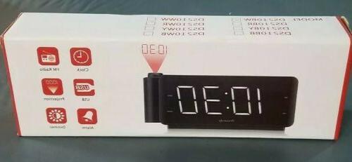 projection alarm clock radio and usb charging