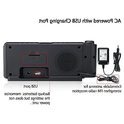 """DreamSky Radio USB Port and FM Radio, 2"""" with Adjustable Volume, DST Button, Hrs Display."""