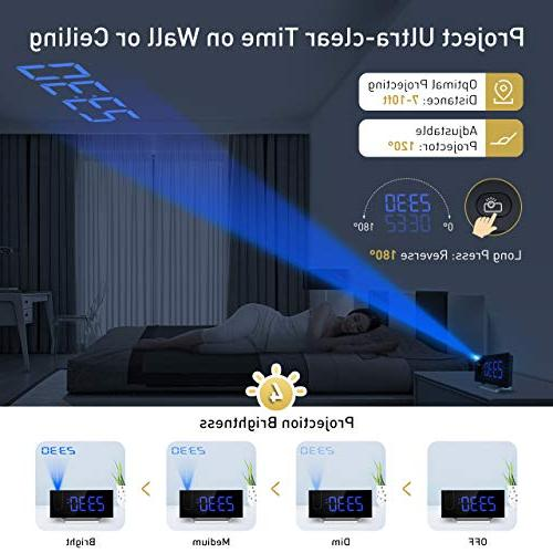 Mpow Alarm Clock, 5'' Projection Clock, Clock, 12/24 Hour,
