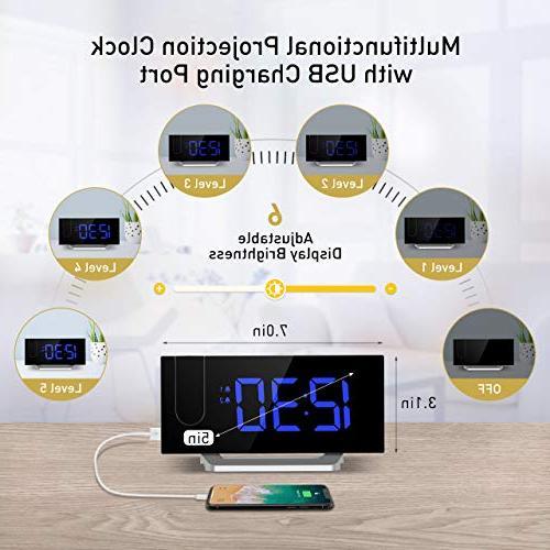Mpow 5'' LED Projection Clock, Alarm Clock, 12/24 Hour, Blue
