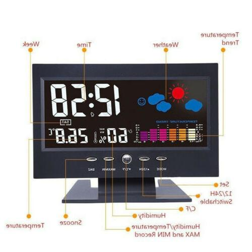 Projection Clock Snooze Weather Thermometer Color LED