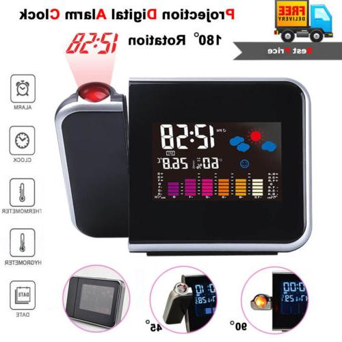 Projection Alarm Clock Snooze LED LCD