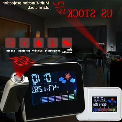 projection digital weather lcd snooze alarm clock