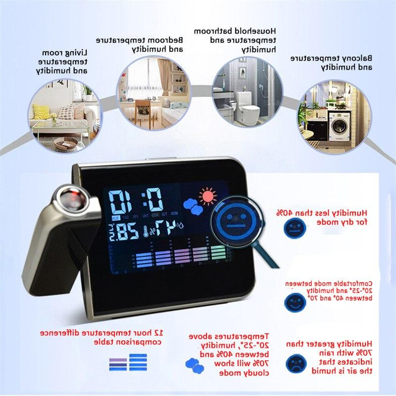 Projection Weather Station Thermometer Date Display Charger Snooze LED Projection