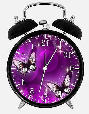 purple butterfly alarm desk clock 3 75