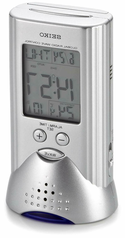 Seiko QHR017S Radio Wave Control Alarm w/ LED NWOB