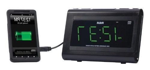 RCA Desktop Clock Radio - Alarm FM, - USB