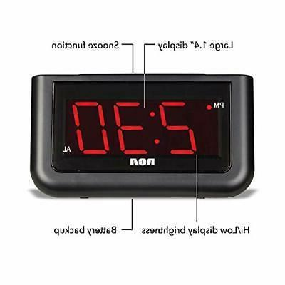 "RCA Digital Clock - 1.4"" LED Display with Brightness Control and Rep"