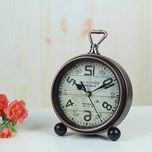 Justup Non-Ticking Beside Table Desk Alarm Vintage Style Desk Shelf Clock Metal Operated for Living