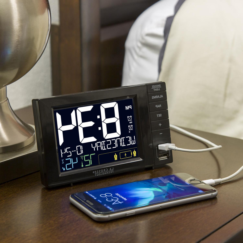 S85906 Dual Alarm Clock 2 USB - Black