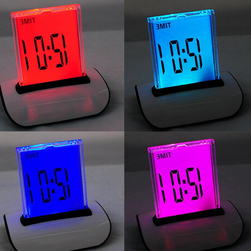 USA 7 LED Color Changing LCD Digital Clock Electronic Alarm
