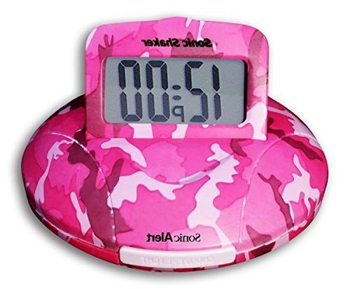 shaker pink camo alarm clock