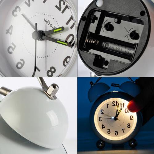 Silent Alarm Clock Vintage Classic Night Light Bell