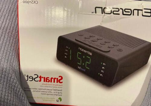 smart set dual alarm clock am fm