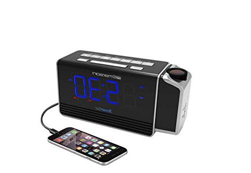 "Emerson SmartSet Projection Clock with Charging Iphone/Ipad/Ipod/Android 1.4"" Blue Display, 4 level"