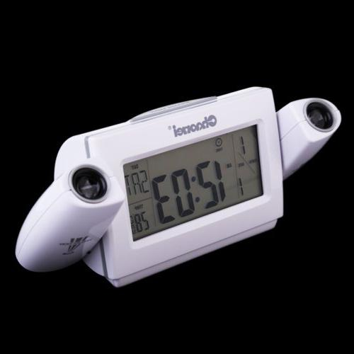 FunnyToday365 Digital Lcd Dual Projection Alarm Clapping Voice