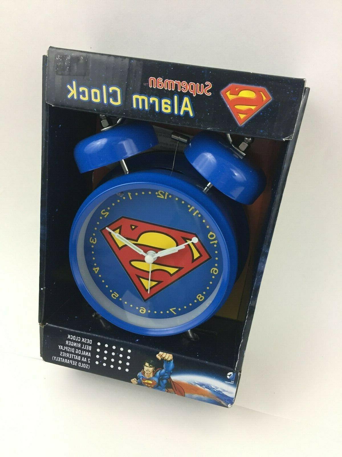superman dc logo old school alarm clock