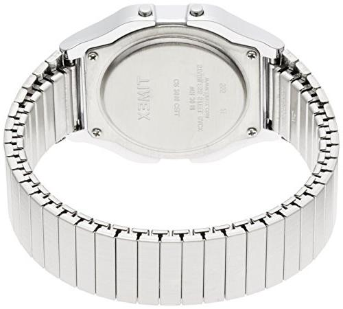 Timex Men's Classic Digital Silver-Tone Steel Expansion Band