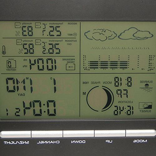 FunnyToday365 Digital Alarm Barometer Station Indoor Thermometer Hygrometer Outdoor Humidity