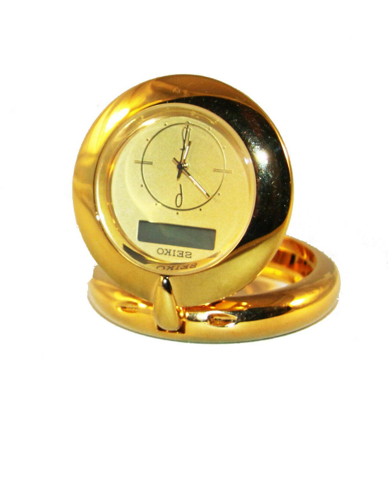 Seiko QHT201GLH Travel Alarm Clocks Analog & Digital Solid B