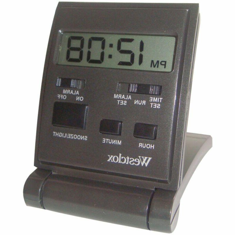 Westclox Travelmate Folding Alarm Clock, Black