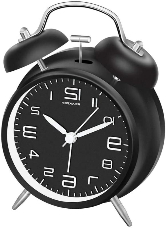 Twin Bell Alarm Clock 4 Inches Stereoscopic Dial Backlight B