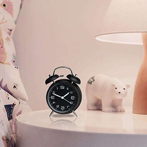 Betus Twin Bell Alarm Clock Metal 3D Dial with Backlight Desk Clock Home Midnight