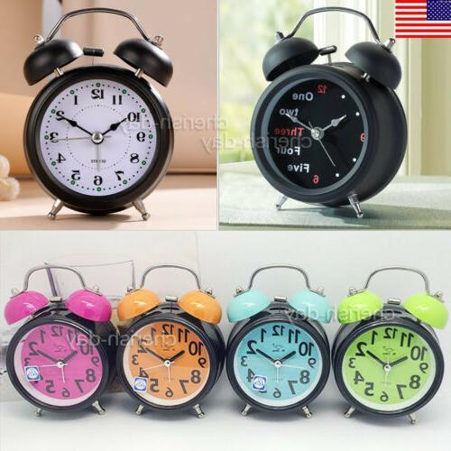 twin bell silent analog alarm clock vintage