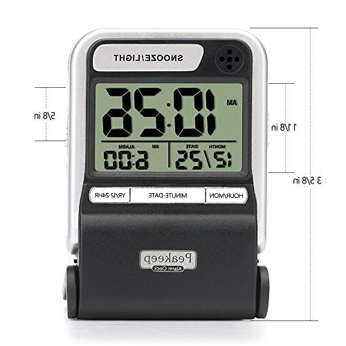 Peakeep Compact Travel Clock with Calendar, Ascending Beep with Snooze AAA Battery Digital Alarm