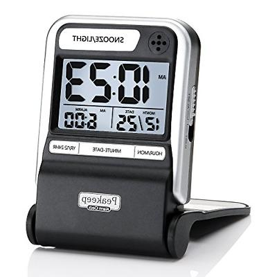 Peakeep Ultra Compact Battery Travel Alarm Clock with Calend