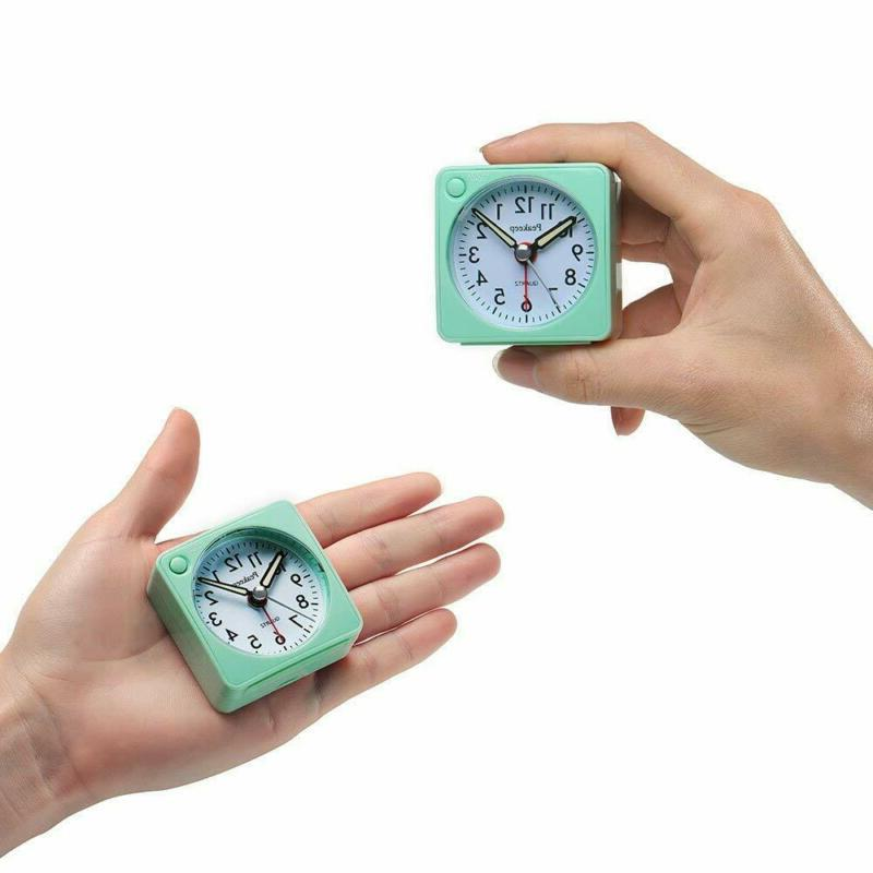 Peakeep Battery Travel Alarm Clock Snooze and Light, Silent wi