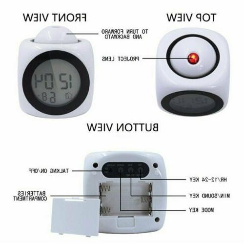 US Projection Alarm Clock With LCD Voice Talking