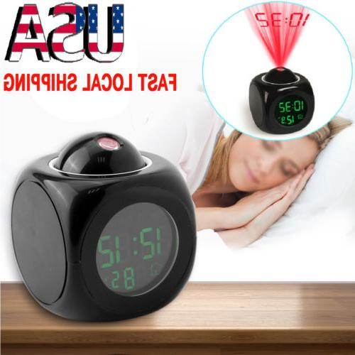 US Voice LCD Alarm Clock Wall Ceiling Projection for