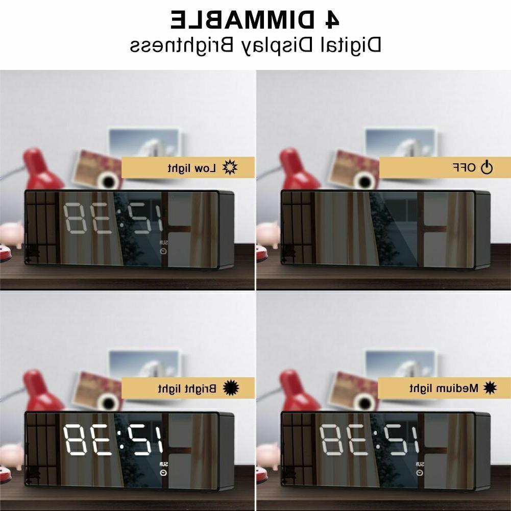 USB Digital LED Clock FM Battery Operated Mirror