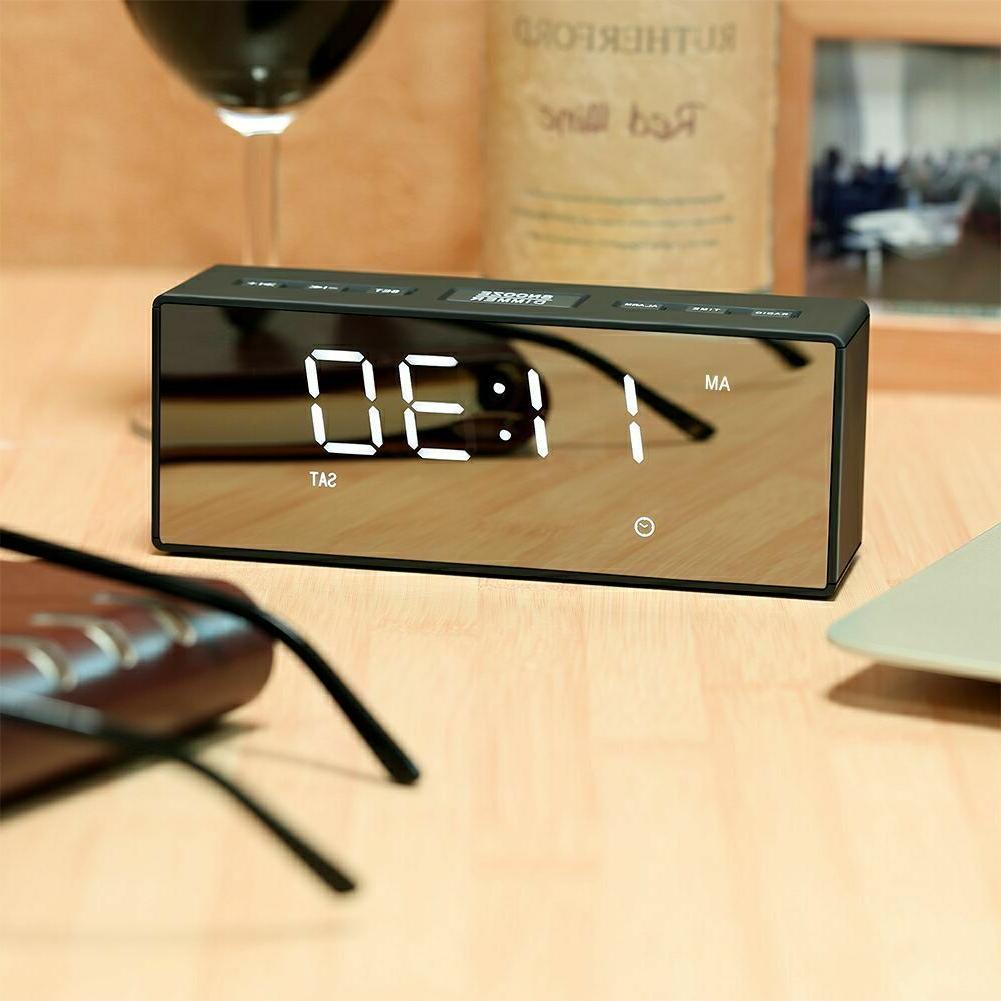 USB LED Alarm Clock FM Portable Battery Operated Mirror