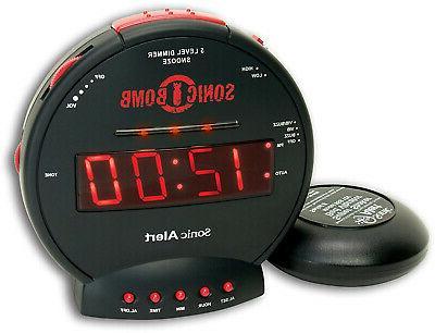 vibrating alarms clock loud sonic boom bed