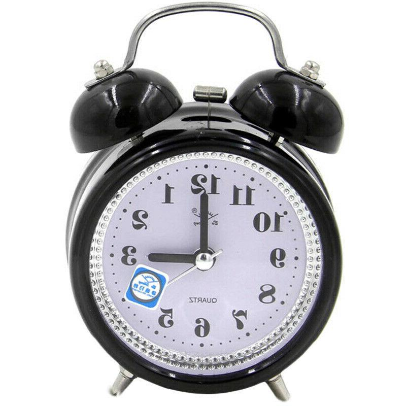 Classic Loud Twin Bell Alarm Quartz Lights Battery Operated Decor