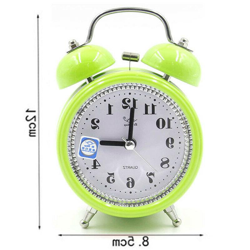 Classic Twin Bell Alarm Clock Quartz Night Lights Operated Decor