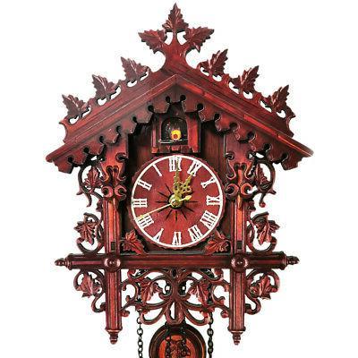 Vintage Wooden Wall Cuckoo Clock Swinging Hanging Z5B9