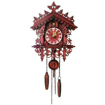vintage wooden wall cuckoo clock swinging pendulum
