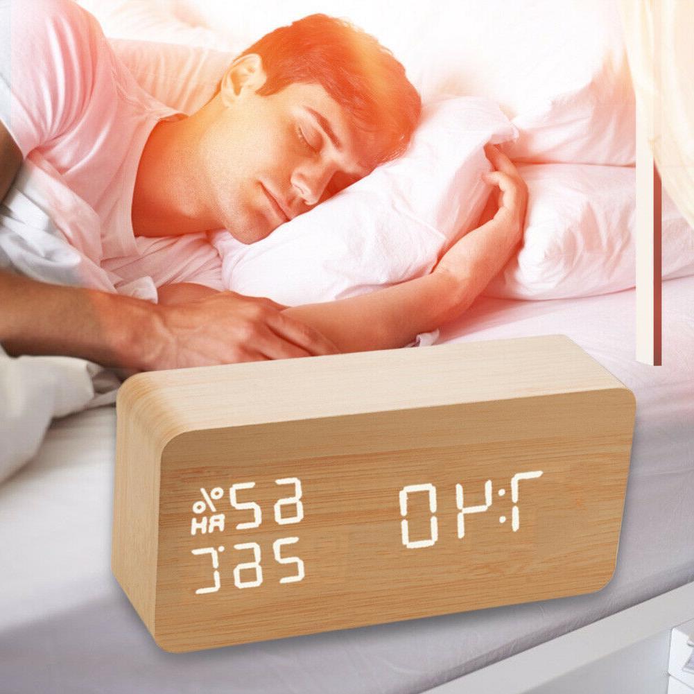 Digital Alarm Wooden LED Voice Control Clocks